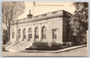 Marlboro Massachusetts~Post Office~Flag Pole on Roof~Steep Step Incline~1940s