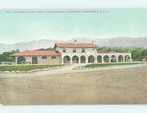 Unused Divided-Back TRAIN DEPOT STATION Santa Barbara California CA H5665