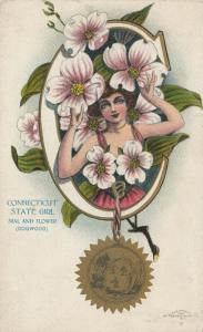 CONNECTICUT, 1900-10s; State Girl, Seal and Flower, Dogwood