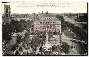 Old Postcard Paris Panorama Taken Toward the Tour Saint Jacques Theater Sarah...
