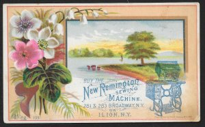 VICTORIAN TRADE CARD New Remington Sewing Machine Flowers & River c1882