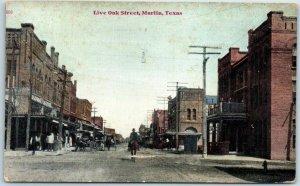 MARLIN, Texas Postcard Live Oak Street Downtown Scene w/ 1911 RPO Cancel
