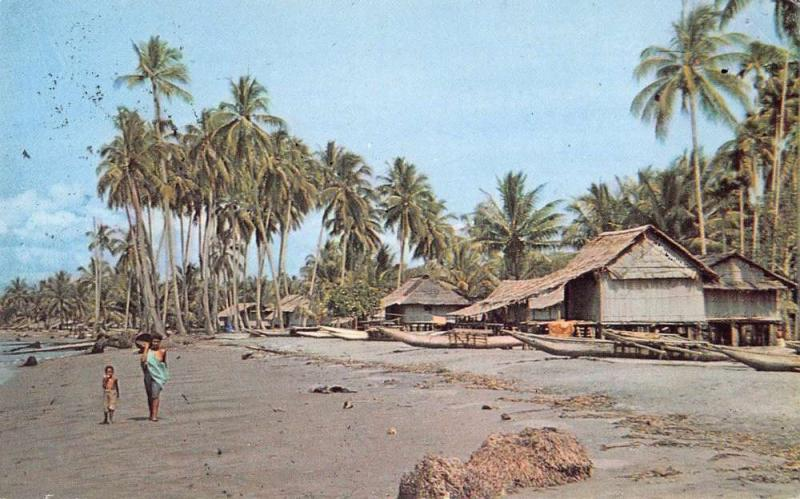 Wanigela Beach Papua New Guinea birds eye view beach natives vintage pc Z18478