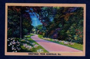 IL Greetings From ROSEVILLE ILLINOIS POSTCARD Linen