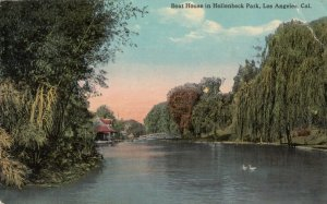 LOS ANGELES , California ; 1915 ; Boat House in Hollenbeck Park, Swans