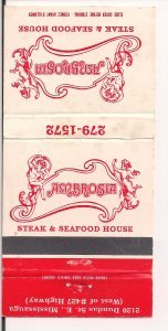 Matchbook Cover ! Ambrosia Steak & Seafood, Mississauga, Ontario !