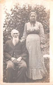 Old Man with Beard & Wife Writing No Date light yellowing from age