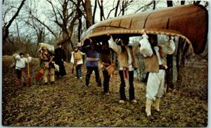 1973 Illinois Postcard JOLIET-MARQUETTE TRI-CENTENNIAL Canoe Chrome Unused