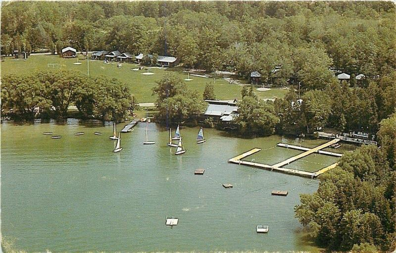 Toronto Ontario~Camp Wahanowin~Sailboats on Lake Couchiching~Cabins~1950s PC