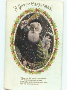 1911 Christmas corporal punishment BLACK ROBE SANTA WAVES SPANK BRANCHES AB4745