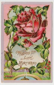 Mentone Akron IN Happy Birthday Fountain Saxony Readie Black VTG Postcard C02