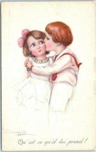 Vintage Artist-Signed Romance Postcard Qu'est ce Qu'il Lui Prend! Kiss c1910s