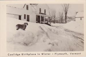 Real Photo Coolidge Birthplace In Winter Plymouth Vermont
