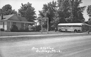 Buckley MI Greyhound Bus Station Bus RPPC Postcard