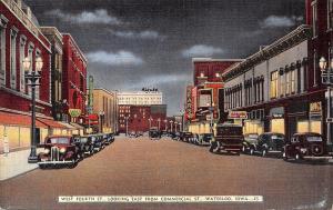 Waterloo Iowa~West 4th Street Neon Night Lights~Furs: Bear Sign~Sears~1940 Linen