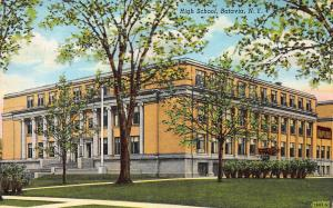 High School, Batavia, New York, Early Linen Postcard, Used in 1942