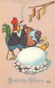 LP23   Easter Holiday Postcard Smoking Cigar Dressed Fantasy