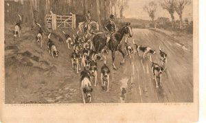 J.Sanderson Wells. Hunting Scene. Horses Nice vintage  postcard