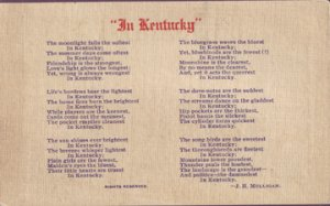 GREAT poem entitled In Kentucky by J.H. Mulligan, 1940s