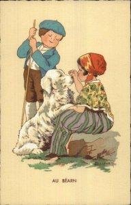 Renoud - French Children & Dog Native Costumes AU BEARN c1920 Postcard