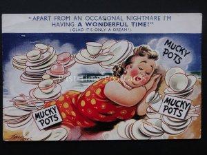 Comic Postcard MUCKY POTS - NIGHTMARE c1950/60's Bamforth 1580