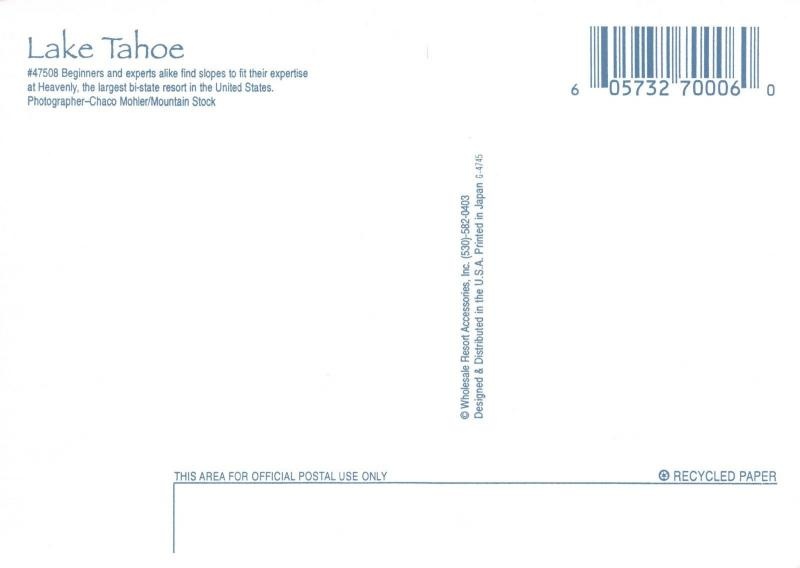 Postcard Heavenly Slopes, Lake Tahoe, Nevada, California, USA, J57
