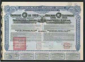 1922 Railway Equipment Loan Chinese Share Certificate Postcard