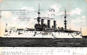 Military Battleship Postcard, Old Vintage Antique Military Ship Post Card E-1...