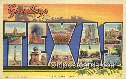 Texas USA Large Letter Town Vintage Postcard Old Post Card Antique Postales, ...