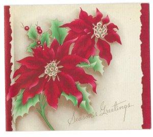 VINTAGE 1940s WWII ERA Christmas Greeting Holiday Card POINSETTIAS Art Deco
