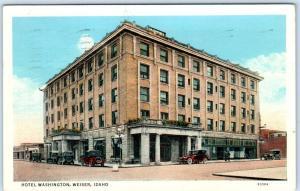 WEISER, Idaho  ID     HOTEL WASHINGTON   1950  Linen shows 1920s Cars   Postcard