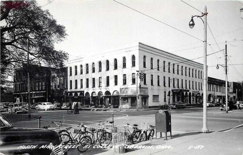 Oberlin Ohio~N Main Street At College~Bicycle Parking By Maibox~1950s Cars~RPPC