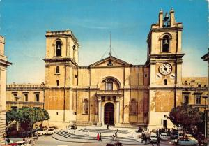 Malta Valletta St John's Co Cathedral Front view Cars Postcard