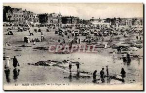 Old Postcard Mers Les Bains Beach