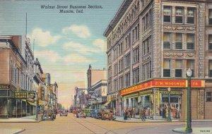 Indiana Muncie Walnut Street Business Section Woolworth 1940 Curteich sk6403