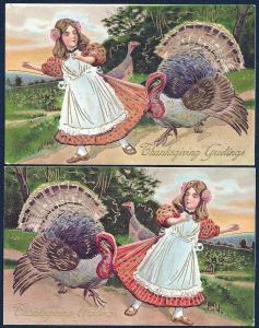 Thanksgiving Girl w/Turkeys used c1910 (2) mirror images