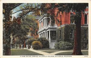 D87/ Hillsdale Michigan Mi Postcard c1930s Hillsdale College Campus 3