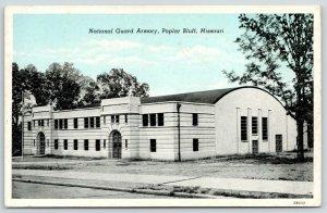 Poplar Bluff Missouri~Art Deco National Guard Armory~1942 Bluesky Postcard