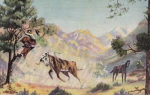 Cowboy Chased up Tree by Steer a/s  L H Dude Larsen Poem: Rough Ranges pm 1940