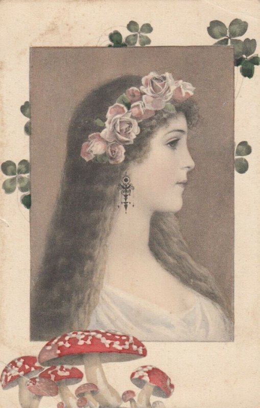 Art Nouveau Fantasy Female Head portrait , Mushrooms & shamrocks , 1900-10s