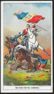 VICTORIAN TRADE CARD Tin Tag Soap Soldiers Fighting on Horses