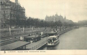 Postcard England London XX century early Thamise from Westminster bridge
