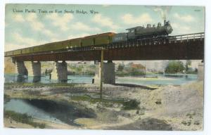 D/B Union Pacific Train on Fort Steele Bridge Wyoming WY 191