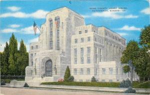 Hutchinson KS~Reno Co. Court House~Art Deco Design~Note Lights at Entrance~1940s