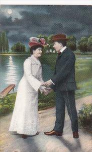 Romantic Couple Exchanging Glances Under Full Moon