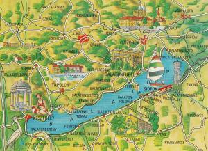 Balaton Hungary Map Megye Postcard
