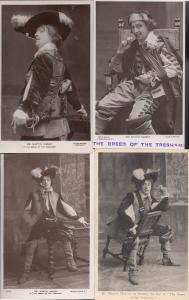 Martin Harvey in The Breed Of The Treshams 4x Theatre RPC Postcard s
