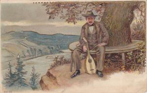 Gold detailed, Man sitting under tree with his mandilin, overlooking valley, ...
