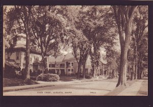 P1501 1944 used postcard view state street augusta maine in the summer