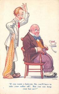 Dudley Buxton~Barber Comic~Bald Man Fringe Wants Haircut~Take off Collar~Not Hat